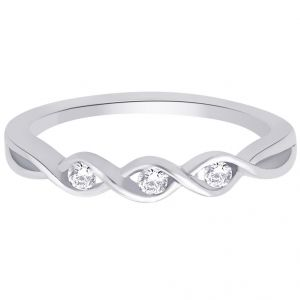 asmi,platinum,ivy,unimod,hoop Silvery Jewellery - Hoop Silver With Cz Diamond Silver Ring For Womens Rf5014