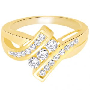 hoop,shonaya,arpera,Karat Kraft Silvery Jewellery - Hoop Silver With Cz Diamond Gold Plated Ring For Womens Rf4271