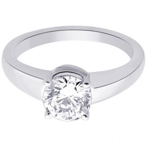 asmi,platinum,ivy,unimod,clovia,hoop Silvery Jewellery - Hoop Silver With Cz Diamond Silver Ring For Womens Re1086