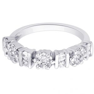 Hoop Silver With Cz Diamond Silver Ring For Womens Rf4968