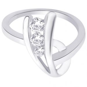 hoop,shonaya,arpera,tng,jagdamba Silvery Jewellery - Hoop Silver With Cz Diamond Silver Ring For Womens Rf4649
