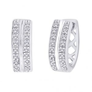 Hoop,Kiara Women's Clothing - Hoop Silver With Cz Diamond Silver Earring For Womens Ef8855