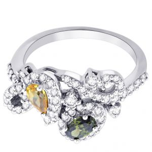 Hoop Silver With Cz Diamond Silver Ring For Womens Rf8976