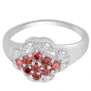 hoop,shonaya,tng,sangini,bikaw,jharjhar,cloe Silvery Jewellery - Hoop Silver With Cz Diamond Red Ring For Womens Rf4383