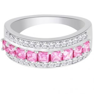 hoop,shonaya,tng,sangini,jharjhar,estoss,clovia Silvery Jewellery - Hoop Silver With Cz Diamond Pink Ring For Womens Rf4979