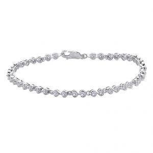 hoop,shonaya,soie,platinum,sukkhi Silvery Jewellery - Hoop Silver With Cz Diamond Silver Bracelet For Womens Bf4343