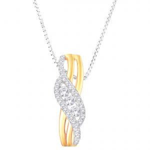 Hoop Silver Cz Diamond Gold Plated Pendant For Women Pf4284
