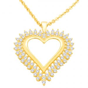Hoop Silver Cz Diamond Gold Plated Pendant For Women Pf4876