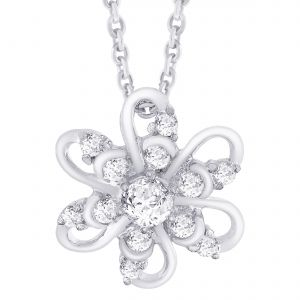 Hoop Silver Cz Diamond Silver Pendant For Women Pf5089