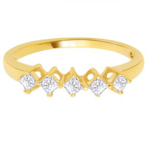 Hoop Silver With Cz Diamond Gold Plated Ring For Womens Rf4091
