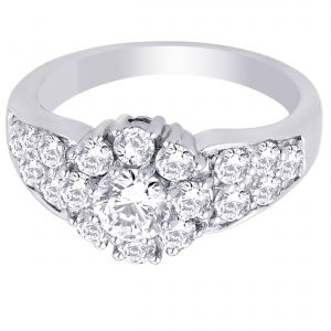 Hoop Silver With Cz Diamond Silver Ring For Womens Rf4994