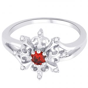 Hoop Silver With Cz Diamond Red Ring For Womens Rf8875