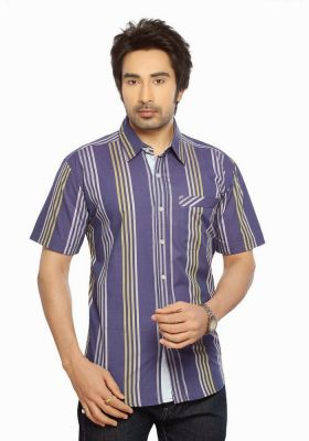 Buy Moksh Striped Casual Cotton Shirt For Mens online