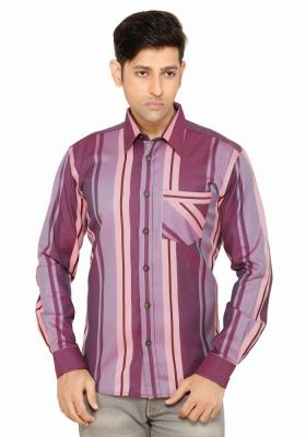 Buy Moksh Striped Casual Cotton Shirt For Mens - (code - V2ims0414ls-166) online