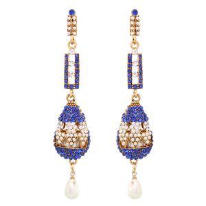 Buy Vendee Fashion Blue Stone Earrings (8410) online