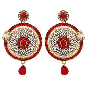 Buy Vendee Fashion Ethnic Orange Color Earrings online