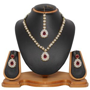 Buy Vendee Designer Imitation Pearl Necklace Set (8443a) online