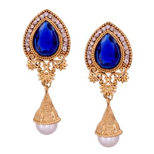 Vendee Fashion Enticing Blue Gold Colour Drop Earrings Online