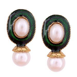 Buy Vendee Fashion Green Kundan Studded Earrings online