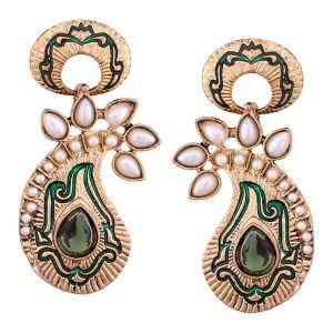 Buy Vendee Fashion Green Core Shape Earrings online