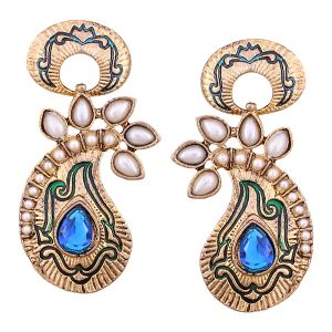 Buy Vendee Fashion Blue & Green Core Shape Earrings online