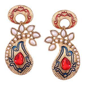 Buy Vendee Fashion Blue & Red Core Shape Earrings online