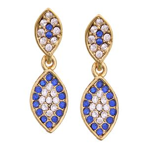 Buy Vendee Fashion Leafy Design Royal Blue Earrings online