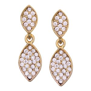 Buy Vendee Fashion Leafy Design White Earrings online