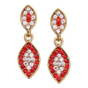 Buy Vendee Fashion Leafy Design Red Earrings online