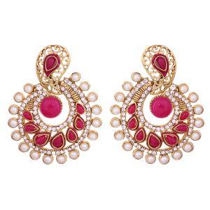 Buy Vendee Elegent Fashion Pink Blue Dangle Alloy Zinc Earrings For Women online