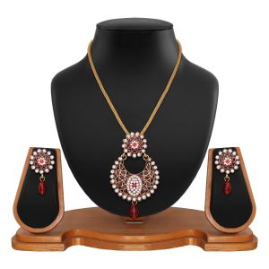 Buy Exclusive Designer Round Shape Filigree Red Alloy Pendant Set 8660a online