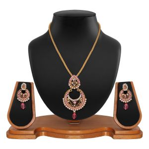 Buy Ethnic Designer Round Shape Filigree Pink Alloy Pendant Set 8663f online