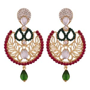 Buy Studded Maroon Earrings With Green Drop 8709 online