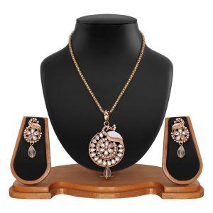 Buy White Pendant And Earrings Set 8712 online