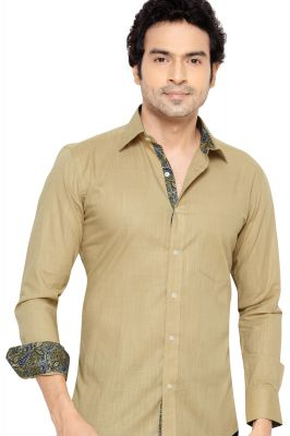Buy Pronto Semi Formal Shirt Beige By Corporate Club (code - Pronto 01) online