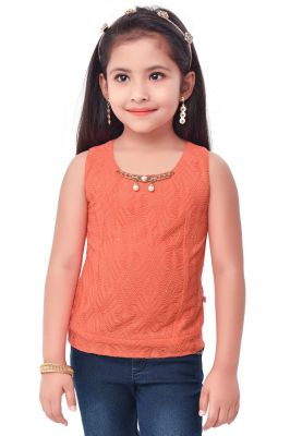 Buy Semi Party Wear Western Top with Separate Sleeves for Kids - Rust by Triki online