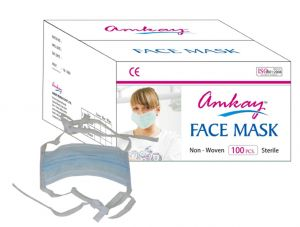 Buy Amkay- Face Mask 3 Ply - Tie / Lace Color- Green Bulk Box (100 PCs Per Box) online