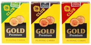 Buy Parksons Cartamundi Plastic Coated Paper Playing card (C Club Gold Premium) for Fun / game / party - Pack of 3 online