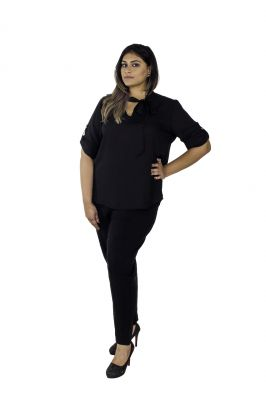Buy The Plum Tree Black Tie-up Blouse Formal & Casual Wear online