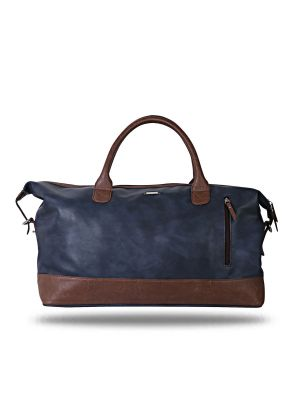 Buy Blue and Brown Leatherette Duffel Bag By Strutt online