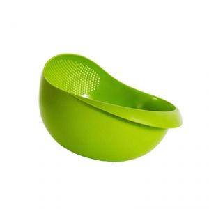 Buy Trioflextech Plastic Vegetable Fruit Basket Rice Wash Sieve Washing Bowl With Colander online