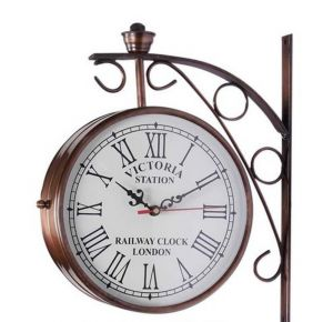 Buy Victoria Two Sided Railway Wall Clock-iron 6 Inch online