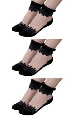 Buy Visach Women's Cotton Black Embroidered Socks (pack Of 3) (code - Vs_3blk) online