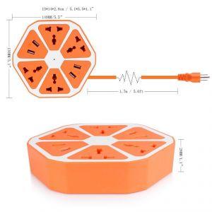 Universal 4 USB Hexagon Power Socket Extension Socket Plug Electrical Outlet Us Plug 250v 2500w