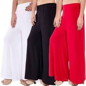 Buy Set Of 3 Solid Coloured Women Palazzo Pants Wear For Ladies online