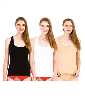 Buy Set Of 3 Lycra Cotton Tanks Inner Sando Vests For Ladies online