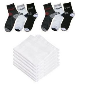 Buy Ocean's Combo - 6 Pair Ankle Socks, 6 White Cotton Handkerchief online