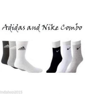 Buy Set Of 6 Pairs - 3 Adidas 3 Nike Logo Sports Ankle Length Socks online