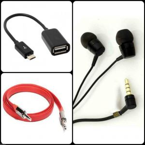 Buy 3 In 1 Combo Micro USB Otg Cable,flat Aux Cable,headset Headphone Earphone online