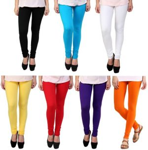 Buy Stylobby Set Of 7 Multicolor Cotton Lycra Legging online